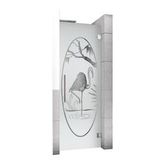 "Hinged Alcove Shower Door With Flamenco Design, Semi-Private, 28""X70"", Right"