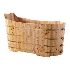 """ALFI brand AB1103 59"""" Free Standing Cedar Wood Bathtub with Bench"""