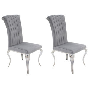 Nicole Upholstered Dining Chairs, Set of 2, Silver