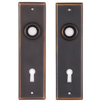 Charleston Hardware Co. - New York Small Keyed Back Plates, Oil Rubbed Bronze - Sold as a pair. 1-1/2in x 5-3/8in back plates, 3/4in ferrule opening. Standard 2-1/4in from center of doorknob opening to the center of the key hole. Incompatible with pre-bored doors.  Compatible with Mortise Lock SKU #2807