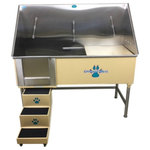 """Groomer's Best - Elite Dog Wash, Tan, 58"""", Right Drain - Groomers Best Elite Bathing Tub is top of the line.  Featuring a fully welded design and double sealed.  Our textured coating protects your tub and guarantees no leaking or rusting, and can also be ordered in a color to match your decor.  Includes Lift & Slide steps that allow the animals ease of access and smoothly slide underneath the tub for your convenience.  Removable raised tray is great for small dogs! No assembly required, wash tub ships ready to install!  Easy to use and maintain!"""