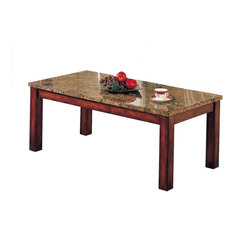 Acme Bologna Coffee Table Brown Marble And Brown Cherry