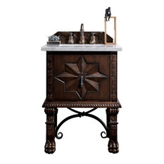 "Balmoral 26"" Single Vanity Cabinet Antique Walnut, 3 cm Summer Sand Quartz Top"