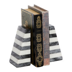 "Modern Striped Gray and White Marble Bookends, 2.5""x6"" Each"