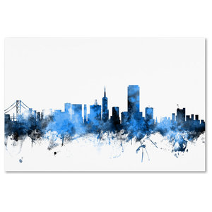 Michael Tompsett San Francisco Skyline Blue Canvas Art Traditional Prints And Posters By Trademark Global Houzz