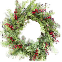 """Mini Pine Cone and Berry Holiday Wreath -24"""""""