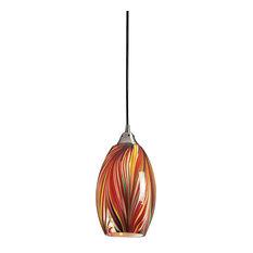 colorful pendant lighting. ELK Group International - 1 Light Pendant, Satin Nickel, Multi Colors Swirled Glass Colorful Pendant Lighting