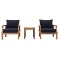 Marina 3-Piece Outdoor Premium Grade A Teak Wood Set, Natural Navy