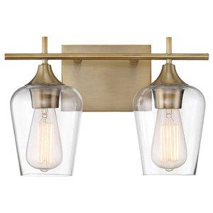 "Bathroom Vanity 2-Light With Warm Brass Finish Incandescent Bulb 14"" 200W"
