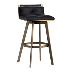 Sunpan 103001 Arizona Swivel Barstool, Antique Brass, Black