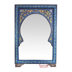 Moroccan Mirror Arabesque Wood Blue Handmade Limited Edition