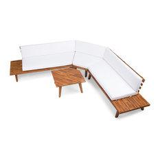 4-Piece Hillside Outdoor V Shaped Sectional Sofa Set, Sandblast Finish/White