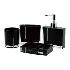Genial Immanuel   Immanuel Cristal 4 Piece Bathroom Accessory Set, Black   Bathroom  Accessory Sets