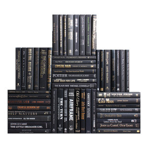 Decorative Books, Modern Black & Blended Accents Book Wall, Set of 50
