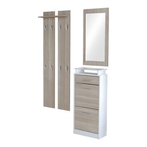 Modern Furniture Wardrobe Set, MDF With Shoe Cabinet Wardrobe Panel and Mirror,