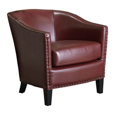 GDF Studio Carlton Tub Club Chair With Nailheads Accents, Wine Red Leather