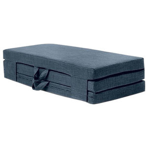Double Portable Foam Folding Mattress, Midnight Blue Fabric With Carry Handles