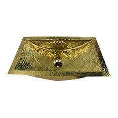 "Nantucket Sinks 23.5""x15.5"" Hammered Brass Rectangle Undermount Bathroom Sink"
