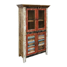 Rustic Distressed Reclaimed Wood Curio, Glass Cabinet