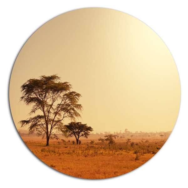 Trees In African Landscape, African Landscape Round Wall Art ...