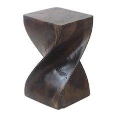 "Haussmann Big Twist Stool 12""x20"" Acacia Wood Livos Mocha Oil Finish"