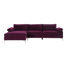 Divano Roma Furniture - Modern Large Velvet Fabric Sectional Sofa, L-Shape  Couch With