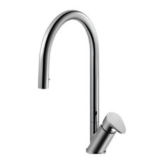 Oni Hidden Pull Down Kitchen Faucet With CeraDox Technology, Polished Chrome