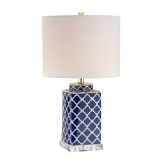 """Clarke 23"""" Chinoiserie Table Lamp, Blue and White"""