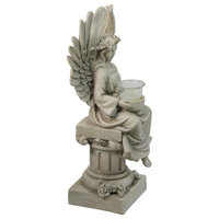"""17"""" Peaceful Angel Sitting on a Pedastal Candle Holder Statue"""