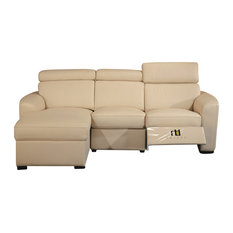 Leather Match Sectional With Motion Headrest Beige Left Facing Chaise