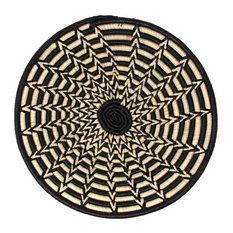 Woven Sisal Basket, Feathered Monochrome Pattern