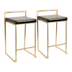 LumiSource Fuji Counter Stool Set of 2, Black, Gold Frame