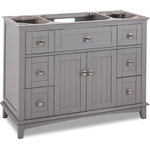 "Hardware Resources - 48"" Grey Savino Vanity Without Top - Contemporary vanity with shaker design."