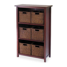 Winsome Milan 3 Shelf Storage Unit with 6 Wired Baskets in Antique Walnut
