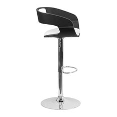 Bentwood Two Tone Black And White Black Vinyl Adjustable Height Barstool