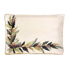 Feba Italia - Holly Ceramic Rectangular Tray - Christmas Tableware