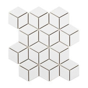"10.5""x12.13"" Victorian Rhombus Mosaic Floor/Wall Tile, Glossy White"