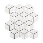 "10.5""x12.13"" Victorian Rhombus Mosaic Floor/Wall Tile, Glossy White"