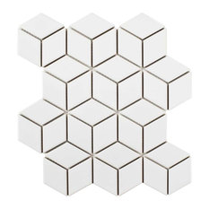 "MOD - 10.5""x12.13"" Freedom Mosaic Floor/Wall Tile, White Lacquer - Tile"