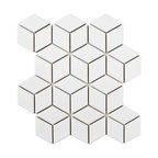 SomerTile Victorian Rhombus Porcelain Mosaic Floor and Wall Tile, Glossy White