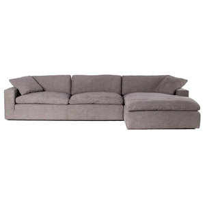 Plume Upholstered Block Arm Pewter Grey Large Sectional Sofa 136""