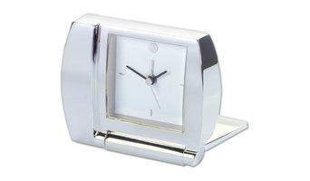 Clock With Folding Alarm, Silver