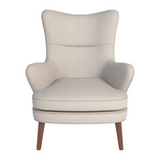 Colm Wingback Accent Chair, Stone Beige Fabric by MOD