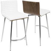 Mason Swivel Counter Stools, Set of 2, Stainless Steel, White PU, Walnut Wood