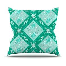 "Anneline Sophia ""Diamonds Mint"" Green Seafoam Outdoor Throw Pillow"