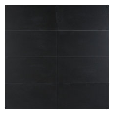 "Terminal Concrete 12""x24"" Matte Porcelain Tile, 11.62 Sqft/Box, Black"