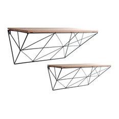 2-Piece Set Black Geometric Shelves