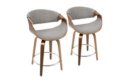 Curvini Modern Counter Stool in Walnut Wood and Light Grey Fabric-Set of 2