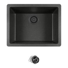 Dual-mount Single Bowl Quartz Kitchen Sink, Black, Colored Strainer
