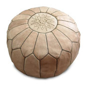 Unstuffed Moroccan Leather Pouf, Natural Beige